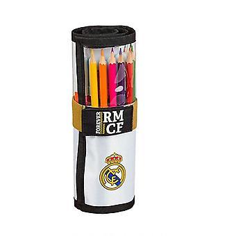 Lyijykynäkotelo Real Madrid C.F. 19/20 Roll-up Valkoinen Musta (27 kpl)