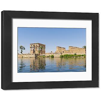 Temple of Philae on an island in Lake Nasser, Nile River, Aswan, Egypt, Africa. Framed Photo..