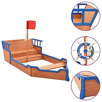 vidaXL bac à sable bateau pirate bois de tannn 190x94,5x136 cm