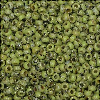 ميوكي جولة حبات البذور، 11/0 الحجم، 8.5 غرام أنبوب، #4515 شارتريوز بيكاسو ماتي مبهمة