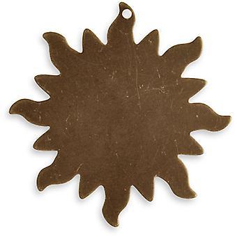Vintaj Natural Brass Altered Blank Stamping Dancing Sun Pendant 33mm (1)