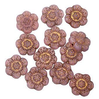 Tjeckiska glaspärlor, vild rosenblomma 14mm, rosa opalin matt, mörk brons, 1 Str, av Raven's Journey