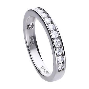 Diamonfire Womens 925 Plata esterlina Rodio, Paladio &Platino Plateado Claro Zirconia Round Stone Channel Set Eternity Ring