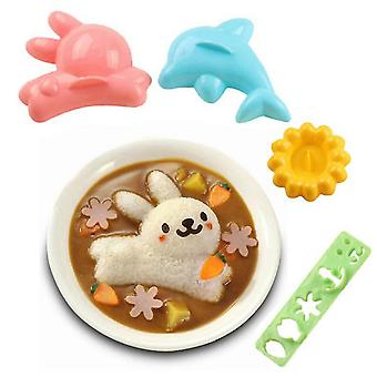 4st Sushi Mold Söta tecknade djur Risboll Sushi Making Kit