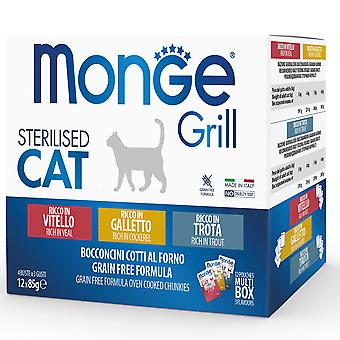 Monge Multipack Pouches Sterilized Cat Chicken, Trout and Veal