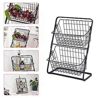 Double Layer Iron Storage Shelf Rack for Kitchen Seasoning Organizer Fruits Holder Assembly Bathroom Cosmetic Storage Basket