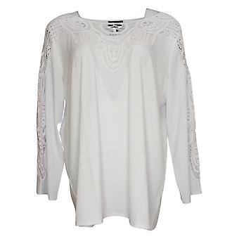 Antthony Women's Top Reg Bracelet-Sleeve Crochet Knit Tunic White 735579