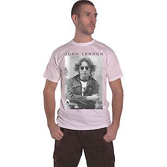 John Lennon T Shirt Windswept Portrait Logo new Official Mens White