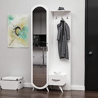 Mobile Ingresso Kerry, Colore Bianco, Cromo in Truciolare Melaminico, L80xP35xA180 cm