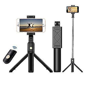 3 in 1 taitettava langaton Bluetooth Selfie Stick iphonelle / Androidille / Huaweille (musta)