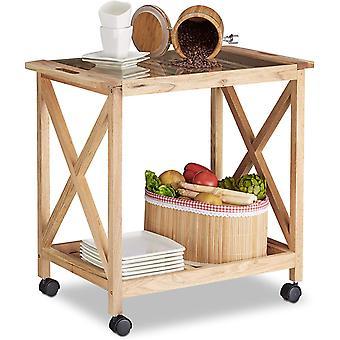 Küchenwagen Holz auf Rollen, 2 Etagen Servierwagen, Rollwagen mit Glasplatte, HxBxT: 63 x 66,5 x 38
