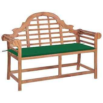 vidaXL garden bench with green pad 120 cm solid wood teak