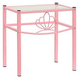 vidaXL nattbord rosa gjennomsiktig 42,5x33x44,5 cm metall og glass