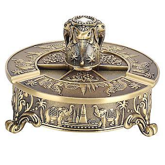 Retro Style Flexibly Rotated Ashtray Elephant Pattern Bronze European Zinc Alloy Craft