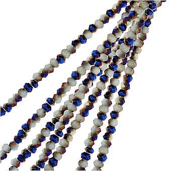 Crystal Beads, Faceted Rondelle 1.5x2.5mm, 2 Strands, Opaque Light Blue w/Half Blue Iris