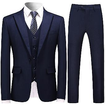 Allthemen Pánske klopový golier Trojdielny oblek Business Casual Suit Sako &pants &vesta