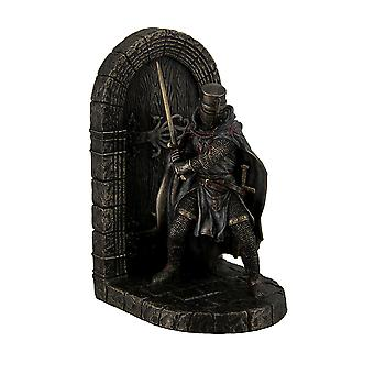 Maltese Crusader In Armor Guarding Door Holding Sword Decorative Bookend