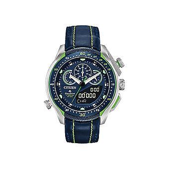 Borger Jw0138-08l Promaster Sst Eco Drive Sølv og blå læder Kronograf Watch
