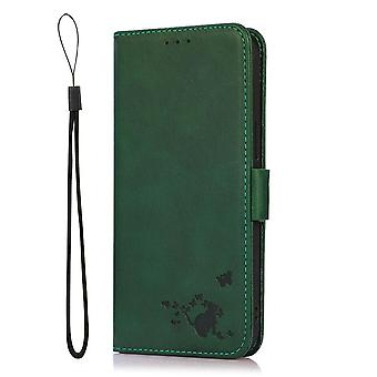 Case For Samsung Galaxy Note 20 Ultra Wallet Flip Pu Leather Cover Card Holder Coque Etui - Green Cat
