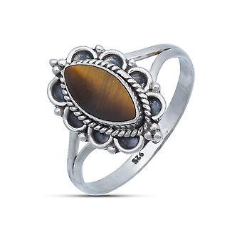 Pierścień Srebrny 925 Sterling Silver Tiger Eye Brązowy Kamień (Nr: MRI 152-18)