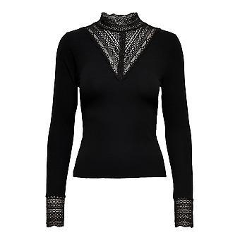 ALLEEN Womens Lang Shirt ONLTILDE Lace Top Vintage Design Strech Longsleeve