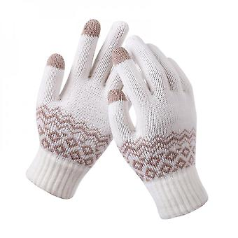Ladies Winter Knitted Warm Touch Screen Gloves (white)