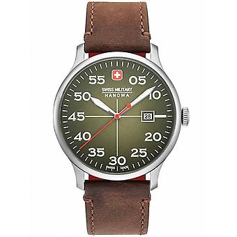 Swiss Military Hanowa Brown Cuir véritable 06-4326.04.006 Montre Homme