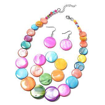Collar, Drop Dangle Jewellery Set Women 20'', 7.5'' Multiple Gemstone in Steel