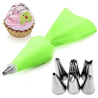 8 Piece set of silicone icing piping bag and 6 stainless steel nozzle attachments(Green)
