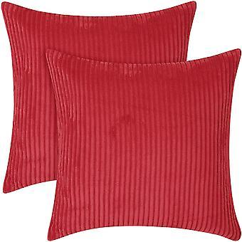 Vakosametti Tyynynpäällinen Neliötyynyliina Sametti tuolin koristeluun Punainen 45 x 45 cm sarja 2