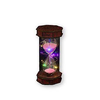 2pcs Colored Wooden Band Lamp Can Light Retro Hourglass Timer Birthday Gift