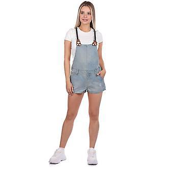 blå hvit bleknet kvinners denim jumpsuit kort