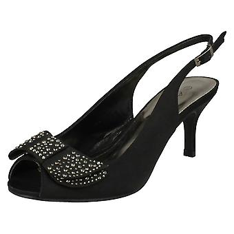 Ladies Anne Michelle Mid Heel Peep Toe Diamante Bow Vamp Court Shoes
