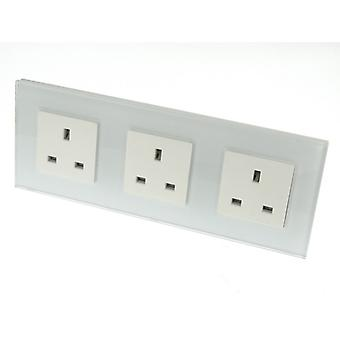 I LumoS Luxury Unswitched White Glass Frame UK 13A Wall Plug Triple Socket
