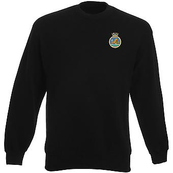 HMS Vanguard Embroidered Logo - Royal Navy Submarine Official MOD Heavyweight Sweatshirt