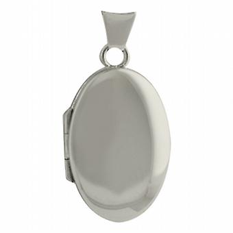 9ct White Gold 22x15mm oval plain Locket