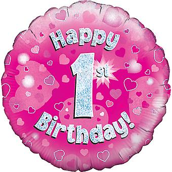 Oaktree 18 Inch Happy 1st Birthday Pink Holographic Balloon
