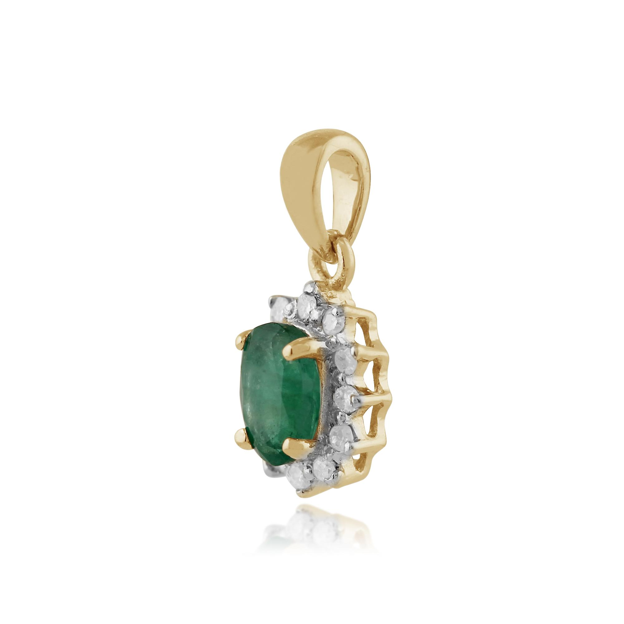 9ct Yellow Gold 0.42ct Natural Emerald & Diamond Oval Cluster Pendant on Chain