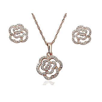 Womens Rose Gold Crystal Flower Jewellery Set Studs Earrings And Necklace