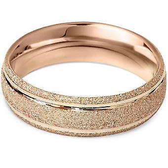 6mm geborsteld trouwring 14K Rose Gold