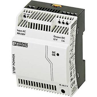 فينيكس الاتصال STEP-PS/1AC/12DC/5 السكك الحديدية التي شنت PSU (DIN) 12 V DC 5 A 60 W 1 x