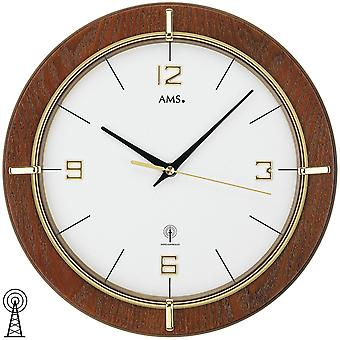 AMS wall clock 5832 radio Walnut colours lacquered, Mineralglas printed in gold-coloured
