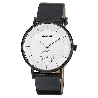 ORPHELIA Mens Analog Uhr Piste Noir schwarz Leder 122-1710-14