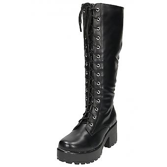 Koi Footwear Black Chunky Heel Platform Gothic Punk Knee High Mid Combat Lace Up Boots