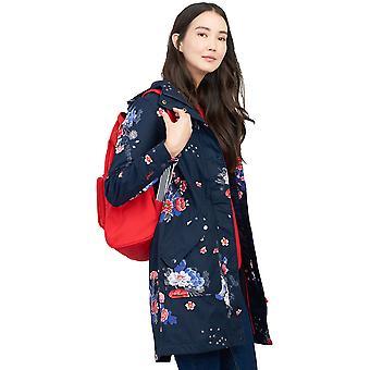 Joule Womens Raine lungo stampato cappotto impermeabile con cappuccio