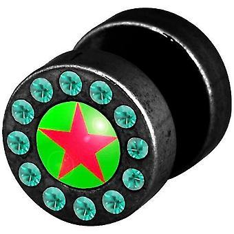 Falske Funky snyder øret Plug, ørering, krop smykker, grøn røde stjerne med sten