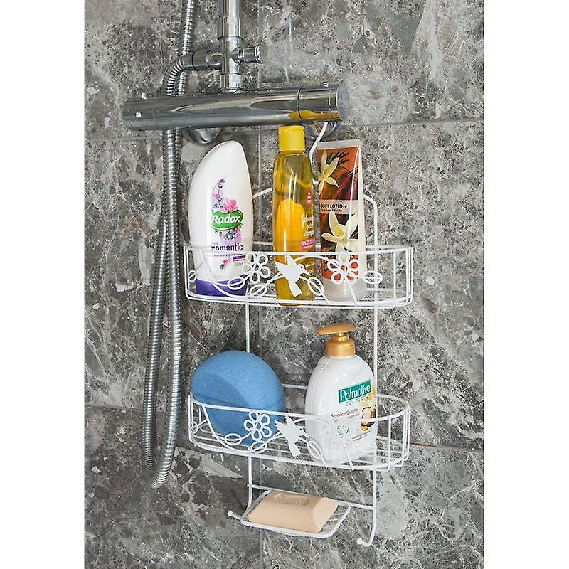 2 Tier White Hanging Shower Caddy With Additonal Soap Holder
