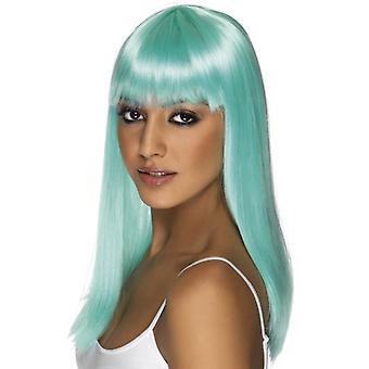 Long Neon Aqua Straight Wig, Glamourama Wig, Fancy Dress Accessory