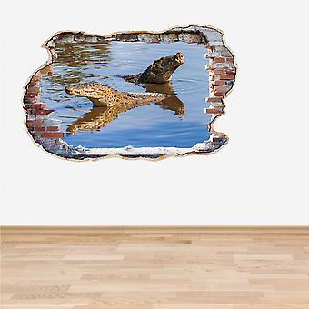 تأثير الألوان الكاملة التماسيح السباحة 3D الجدار ملصق حائط