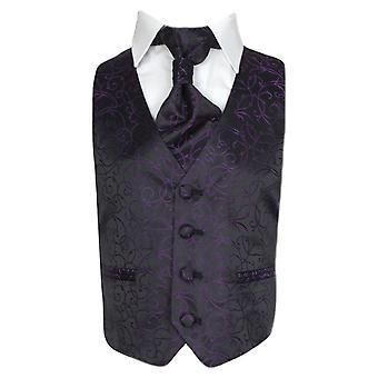 Meninos Cravat & colete - roxo